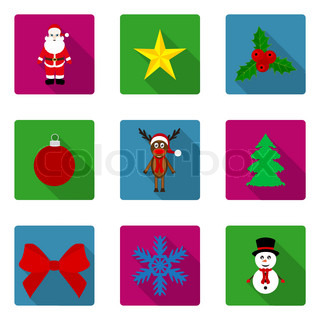 set of flat icons Christmas and New Year