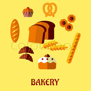 Bakery flat icon set on yellow background