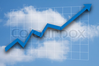 Business graph with blue arrow going up - blue sky and white clouds in background