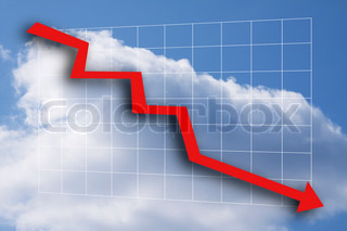Business graph with red arrow going down - blue sky and white clouds as background