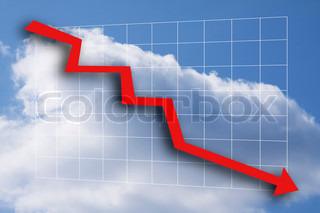 Business-Grafik mit rotem Pfeil going down - blauer Himmel und weißen Wolken als Hintergrund