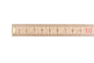 Wooden ruler on white background