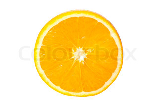 Slice of orange fruit on white background