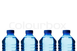 Bottled waters on white background
