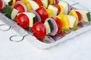 Mixed vegetables on skewers