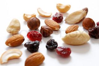 Auswahl Trockenfrüchte und Nüsse