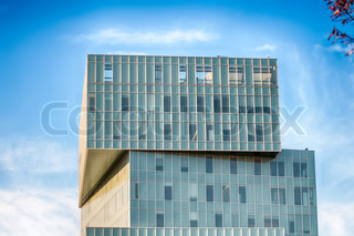modern office building architecture with blue sky