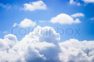 Blue Sky with White, Fluffy Clouds