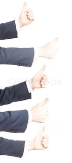 Business men with thumbs up