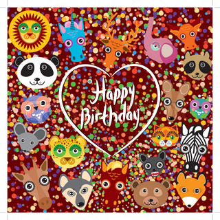 Happy birthday. funny cute animal face on a brown background.