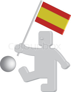 Funny 3D figure with football holding spanish flag