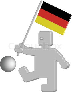 Funny 3D figure with football holding german flag