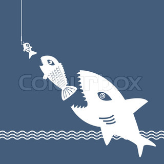 Absorption icon vector colourbox for Big fish eat little fish