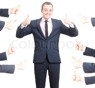A business man with thumbs up