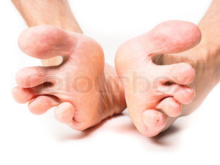 Male person spreading toes