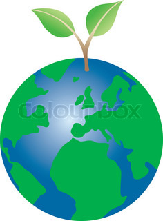 Yhe Earth with a green plant growing out
