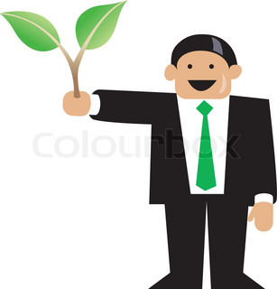 Business man holding green plant in right hand