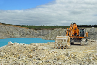 Digger in a quarry