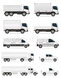 set of icons cars and truck for transportation cargo illustration