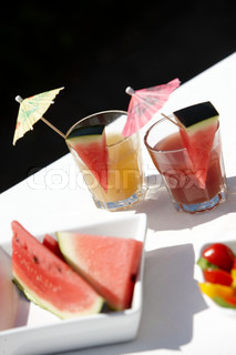 Summer food and drinks - slices of watermelon