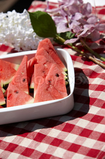 Summer food - slices of red watermelon