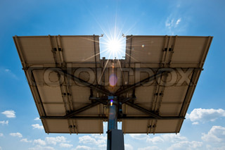 Solar Panel from Behind with Sun and Lens Flare