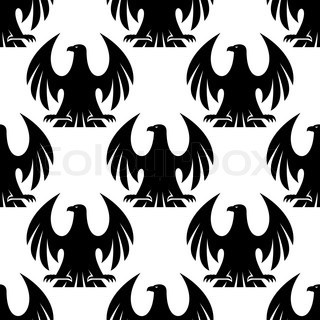 Close up black eagle heraldic seamless patternfor any ...