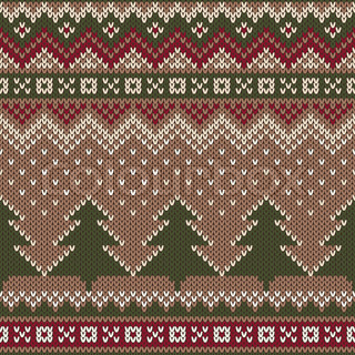 Knit Pattern Christmas Vector : Seamless Winter Holiday Pattern on the wool knitted texture. Christmas and Ne...