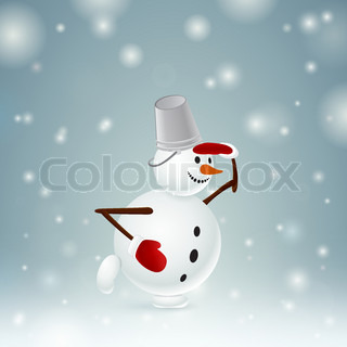 Snowman with bucket and mittens