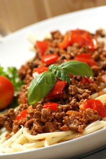 home made spaghetti with minced meat sauce