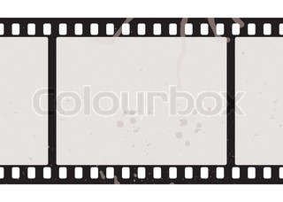 Illustrated film strip with grunge concept and dirty splats
