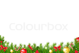 Plaid Christmas frame with rough edges, Christmas tree and red and ...