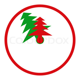 Abstract clock with arrows in the form of fir trees symbolize Christmas