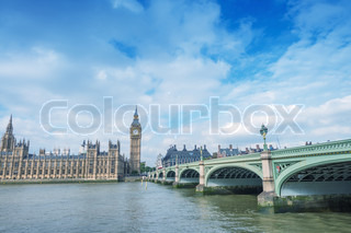 Beautiful view of Westminster Bridge and Big Ben on a sunny day - London