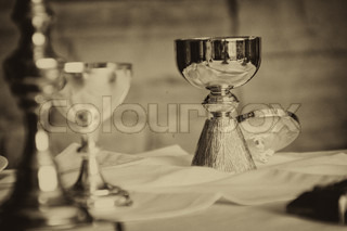 Chalice on an alter ready for mass and communion in catholic Ireland