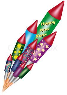 Vektor af 'raket, nytår, fyrværkeri'