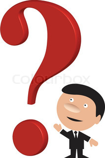 Funny business man with a big red question mark