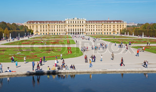 VIENNA, AUSTRIA - OCTOBER 19: The Schonbrunn palace and gardens .