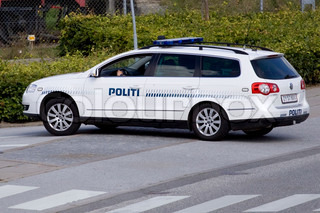 Parked police car from Denmark