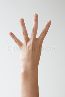 Hand gesturing sign language - four