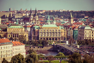 view of the old town with the Prague Castle