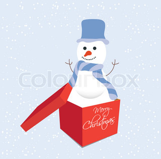 Snowman in gift box christmas