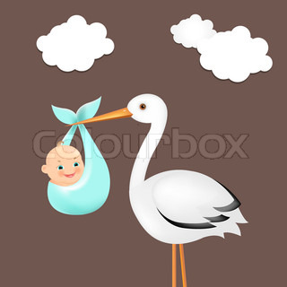 Stork With Baby Card