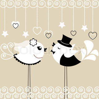 Two birds: the bride and groom on a gray background