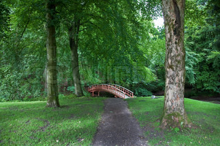 Beautiful old  Danish wooden bridge in park at summertime.