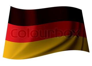 deutsche Fahne aus dem Staat Deutschland mit Knick