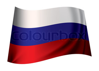 Flag of russia in red white and blue colours fluttering