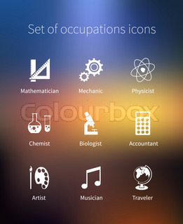 Set of occupations icons - mathematician, mechanic, physicist, chemist, biologist, accountant, artist