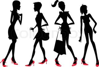 Vektor af 'hun, stående, frue'