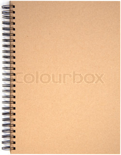 Blank front page cover of spiral bound note pad isolated isolated on white background